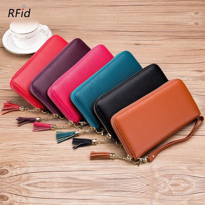 New First Layer Cowhide Women Long Zipper Wallet Genuine Leather Ladies Tassel Wallet Phone Pouch RF