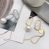 pearl diamond circular earring for women 2021 long tassel asymmetry exquisite fashion jewelry alloy plating earrings