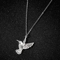 stainless steel hummingbird necklaces women silver color animal bird necklaces pendants jewelry acero inoxidable joyeria mujer