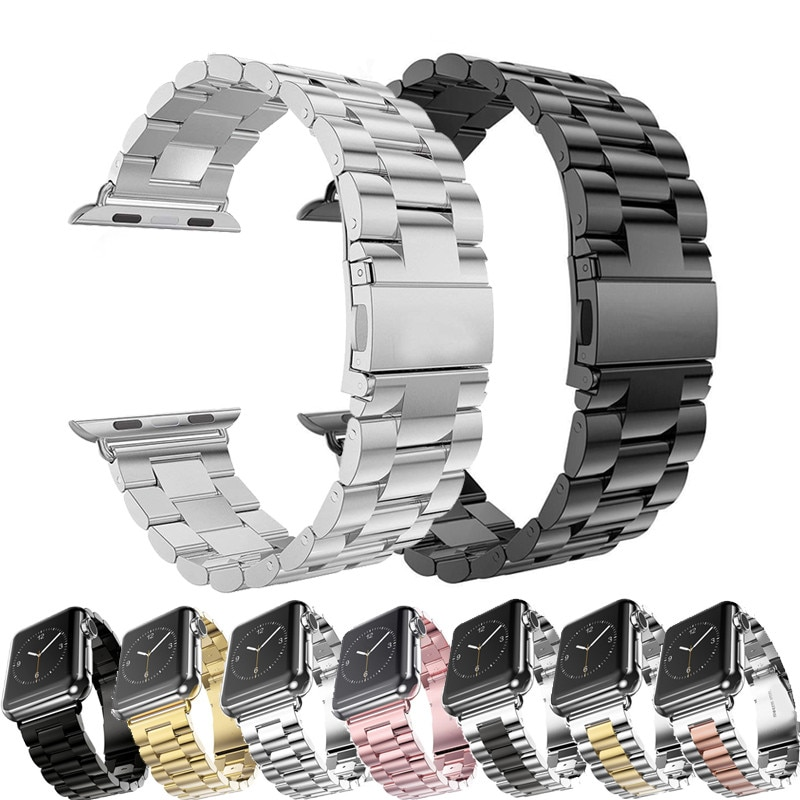 metal strap for apple watch band 44mm 42mm 40mm 38mm stainless steel bracelet for for iwatch 6 se 5 4 3 2 1 series accessories Stainless Steel Strap For Apple Watch 42mm 38mm 1/2/3/4 Metal Watchband Bracelet Band for iWatch Series 4 5 6 SE 44mm 40mm