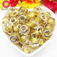 10pcs gold color glass glitter powder european beads crystal faceted rondelle beads large hole beads for jewelry making bracelet