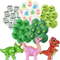 dino birthday balloons green number foil balloon dinosaur jungle wild animals party latex balloons kids baby shower decor globos