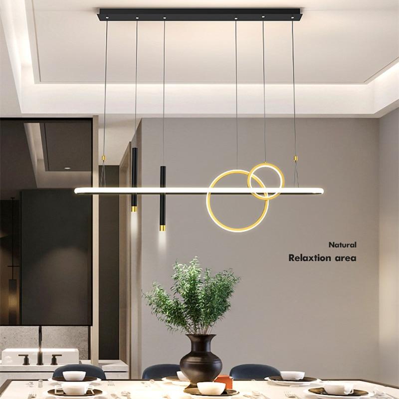 أسود غرفة الطعام الثريا لغرفة المعيشة مقهى بار المطبخ جزيرة الجدول شنقا مصباح الحديثة الإبداعية الأسود قلادة LED مصباح