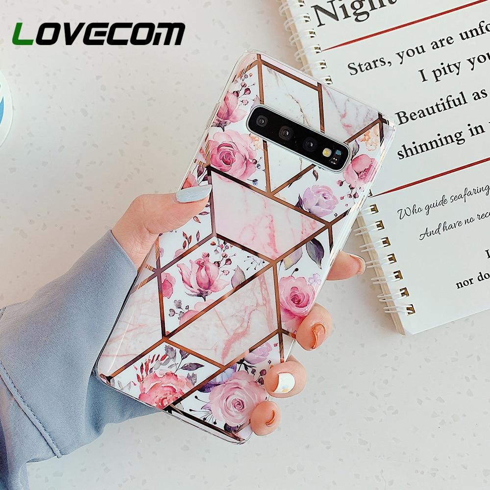 Funda de teléfono LOVECOM Pink Flower para Samsung Galaxy A51 A50 A70 Note 10 Pro S10 S9 S8 Plus electrochapada IMD suave contraportada