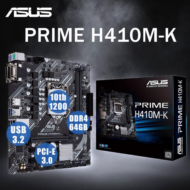 LGA1200 ASUS PRIME H410M-K اللوحة الرئيسية 1200 10th-Gen وحدة المعالجة المركزية DDR4 64Gb PCI-E 3.0 مايكرو ATX H410 بلاسا ميسي 1200 سطح المكتب إنتل H410