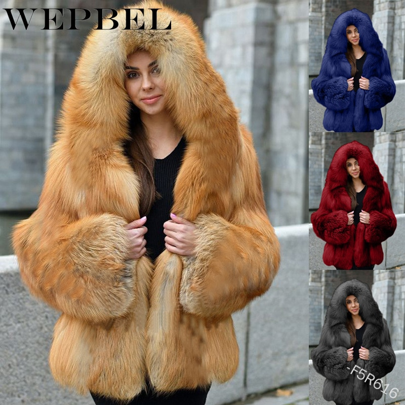 Manylandy-معطف نسائي طويل بغطاء للرأس من الفرو الصناعي ، ملابس شتوية دافئة