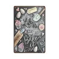 life is what you bake it be heart tin sign art wall decorationvintage aluminum retro metal sign