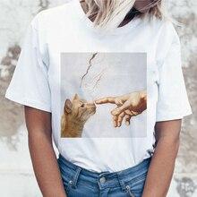 Kawaii Katze Lustige Cartoon T Shirt Frauen Harajuku Ullzang Nette T-shirt 90s Mode Koreanischen Stil T-shirt Schöne Print Top t Weibliche