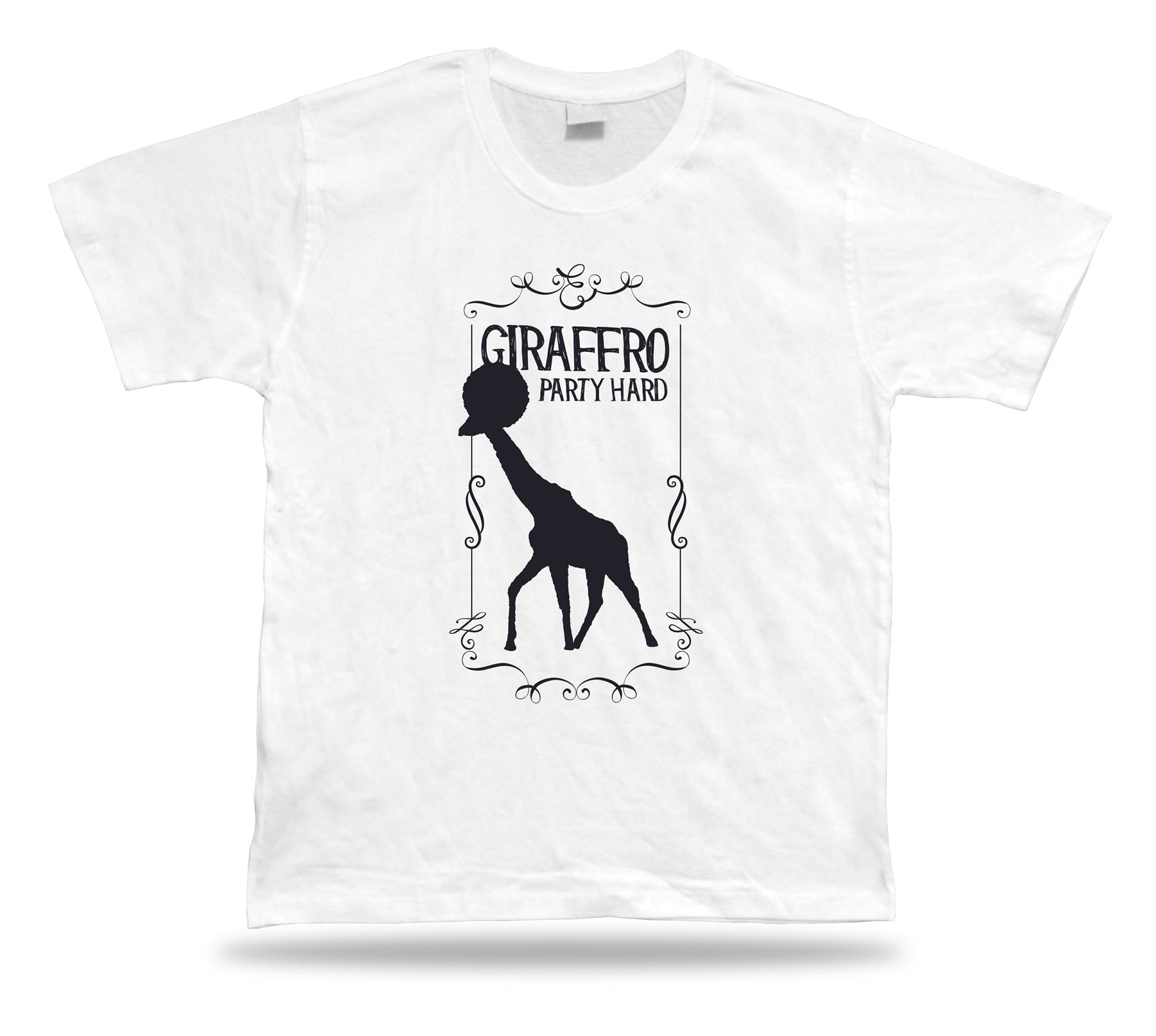 Giraffro party, camiseta moderna con estilo de vector duro, diseño de idea, ropa de dibujos animados, camiseta para hombres, nueva camiseta de moda Unisex
