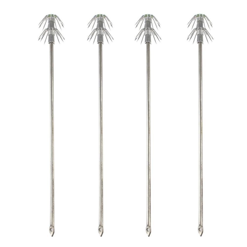4 piezas de doble capa paraguas calamar anzuelo de pesca de acero inoxidable gancho de pesca acónico anzuelo para agua salada de agua dulce de plata