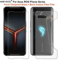Для Asus ROG Phone 5 ZS673 2 ZS660KL 3 ZS661KS Strix 1 комплект = мягкая задняя пленка из углеродного волокна + закаленное стекло передняя защита экрана