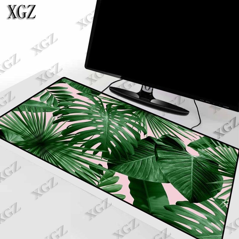 XGZ verde hoja de plátano de alfombrilla para teclado y ratón alfombrilla grande con bloqueo de borde jugador ordenador portátil Pad s de escritorio de oficina