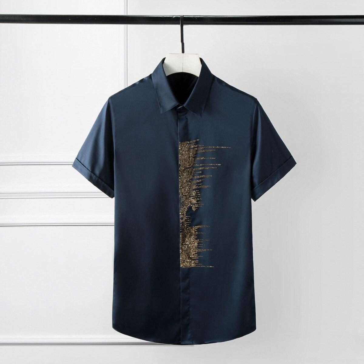 Minglu-قميص رجالي بأكمام قصيرة مع فسيفساء ماسية ، عصري ، لون سادة ، غير رسمي ، نحيف ، أسود وأبيض