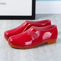 red embossed flower rain shoes woman summer low top galoshes womens waterproof loafers female rainshoes lady kitchen work shoes