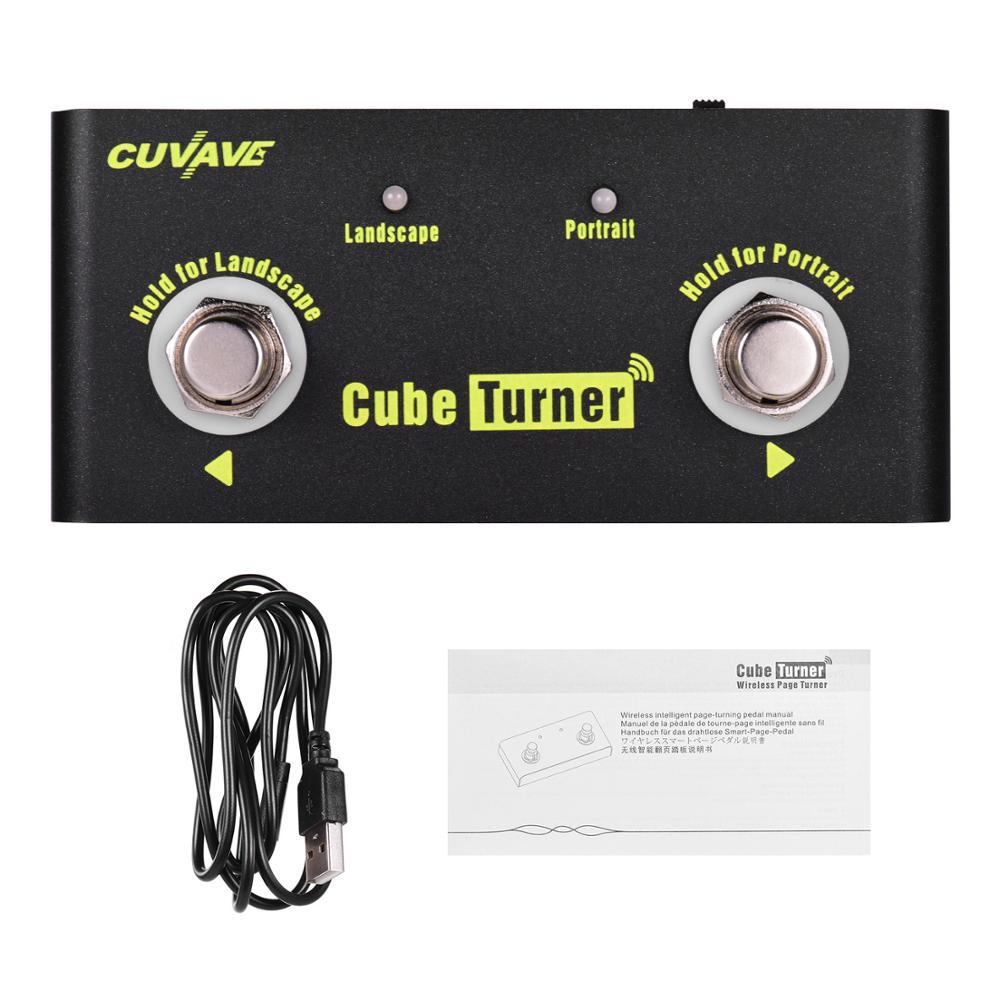 CUVAVE Kubus Turner Nirkabel Halaman Turner Pedal Built-in Baterai Mendukung Looper Koneksi Kompatibel dengan iPad iPhone Android
