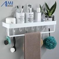 Etageres de salle de bains en aluminium  espace peint blanc  etagere de shampoing a un niveau  etagere de cuisine  etagere de salle de bains