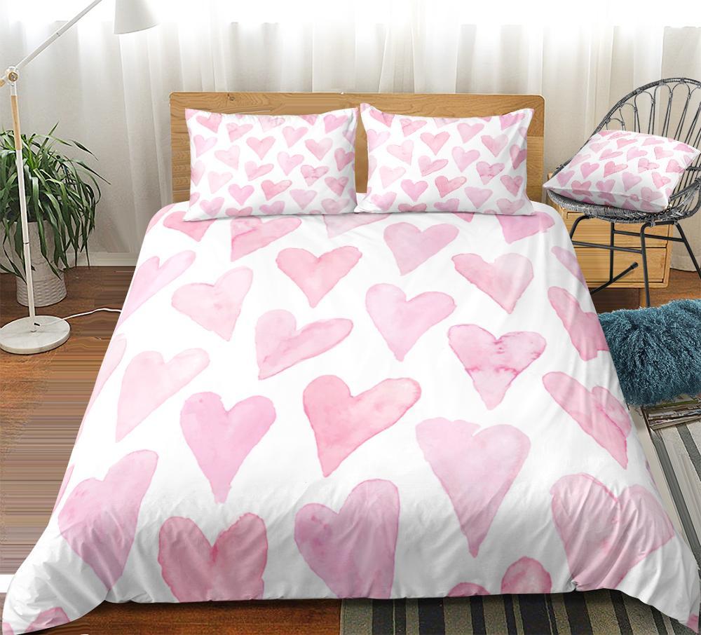 Love Heart Bedding Set Pink Girls Bed Linen Love Duevt Cover Set Pink Bedclothes Kids Teens Home Textiles Water Color Beds Set