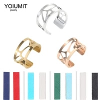 yoiuimt stainless steel bijoux adjustable bague femme argent reversible interchangeable leather rings jewelry