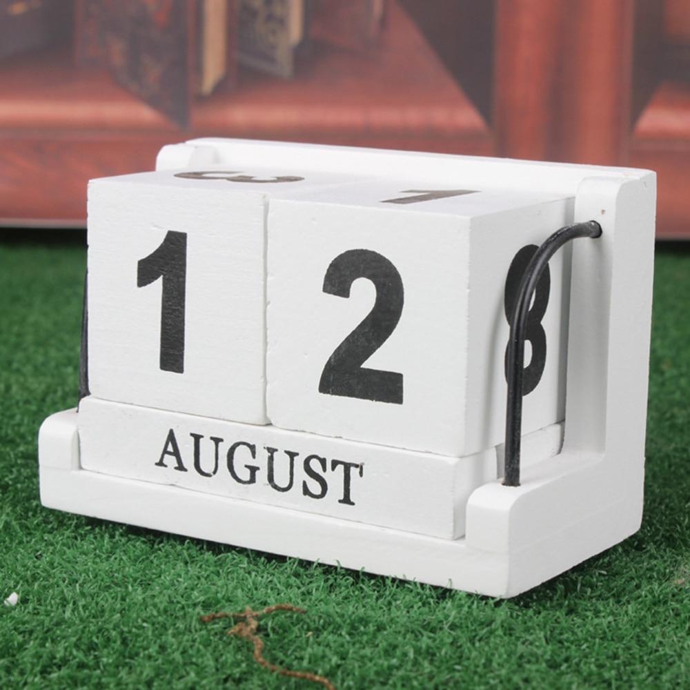 1PC Wooden Calendar Reusable Desktop Calendar Vintage Effect Calendar Block for Office Home Decor Table DIY Planner diy wooden faith family and friends birthday calendar