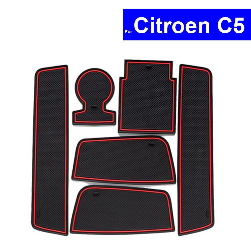 No-deslizamiento ranura de puerta de coche alfombras posición cojinetes portavasos para Citroen C5 2013, 2014 de 2015 esteras con surcos para puerta envío gratis