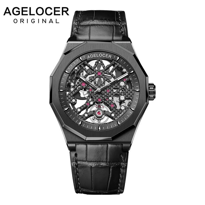 AGELOCER العلامة التجارية الفاخرة ساعة ميكانيكية ساعة موضة الساعات Relogio Masculino الرياضة ساعة معصم ساعة سوداء الذكور