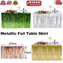 2019 Newest Hot Gold Foil Fringe Table Skirt Metallic Tinsel Curtain Silver Tassel Garlands Rustic Wedding Birthday Party Decor