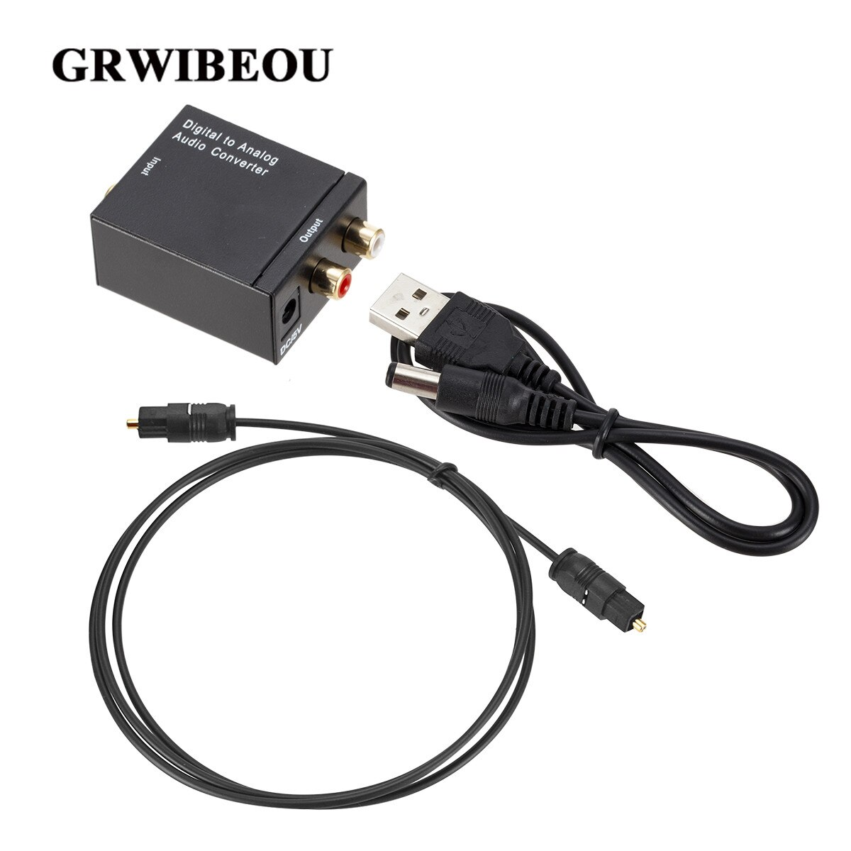 Grwibeou דיגיטלי לאנלוגי אודיו ממיר אופטי סיבי Toslink קואקסיאלי אות RCA R/L אודיו מפענח SPDIF טרקטורונים DAC מגבר