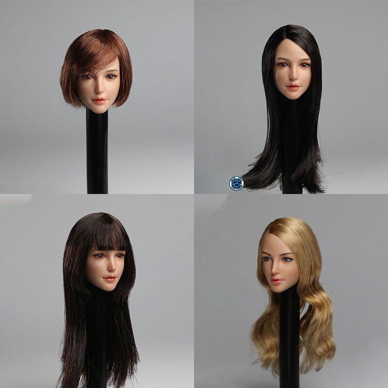 SUPER DUCK SDH011 1/6 Asia Female Head Sculpt Long Hair Beauty Girl Head Carving Fit 12'' Action Figure Body недорого