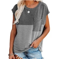 patchwork v neck t shirt short sleeve pocket tops tee shirts women clothes 2021 summer t shirt casual loose top lady streetwear