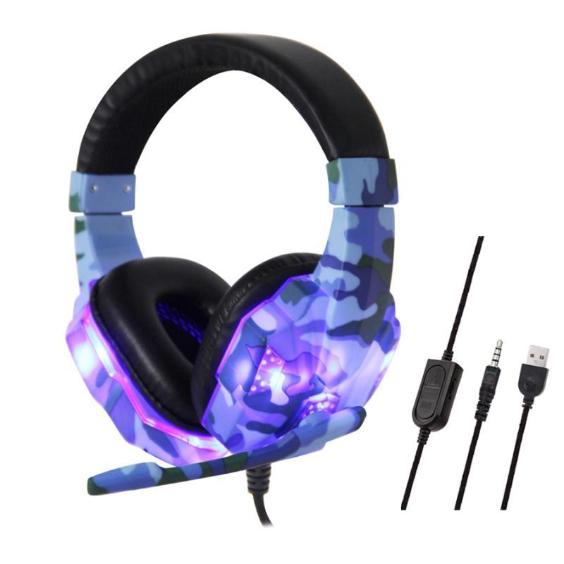Auriculares para videojuegos de 3,5mm, estéreo HD de camuflaje sin ruido, cascos profesionales de Gamer con micrófono omnidireccional