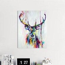 AAVV-Art mural de cerf coloré   Tableaux muraux de cerf colorés pour salon, affiches de peinture à lhuile et imprimés, toile, Art décor pour la maison, sans cadre