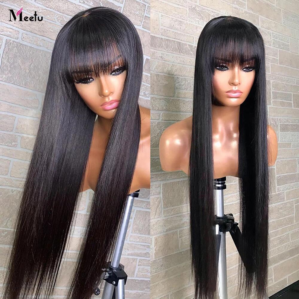 Meetu Straight Human Hair Wigs With Bangs 30 32inch Fringe Wig Colored Human Hair Wigs Ginger Burgun