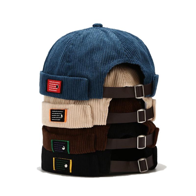 Fashion Vintage Beanie Hats Men Women Spring Autumn Landlord Hat Streetwear Hip Hop Brimless Hat Cor