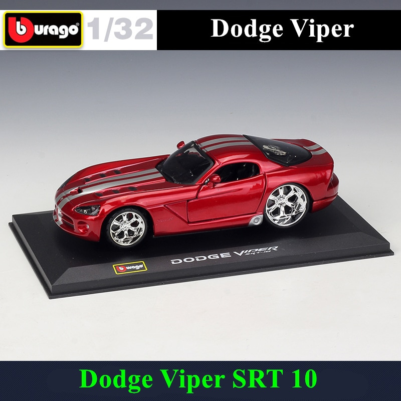 Bburago 132 Dodge Viper SRT 10 coche de simulación de aleación de metal modelo plexiglás a prueba de polvo pantalla base Paquete de regalos de colección