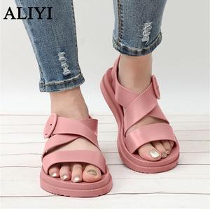 ALIYI Flat Sandals Women 2021 Summer Buckle Soft Bottom Student Casual Sport Shoes 36-40 Big Size Female Beach Wide Feet Sandals