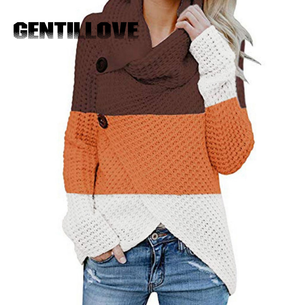 Spring Autumn Women Patchwork Thrtleneck Sweater Long Sleeve Vintage Color Block Harajuku Knitted Button Irregular Pullover brief round collar color block knitted women pullover