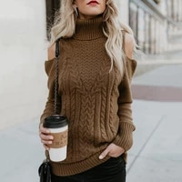winter women sexy off shoulder design knitwear female fashion solid pullovers new fashion turtleneck collar long sleeve sweater