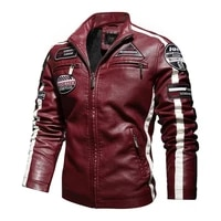 mens motorcycle jacket 2021 autumn and winter mens new pu leather jacket casual embroidery motorcycle bomber jacket zipper fle