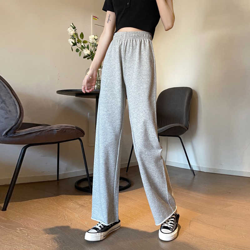 Gray Sports Pants Female Loose Straight Spring/Summer 2021 High Waist Drooping Wide Leg Pants Slimmi