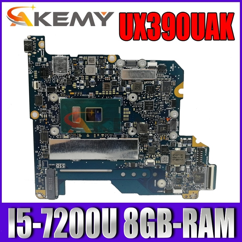 Akemy UX390UAK اللوحة الأم للكمبيوتر المحمول ASUS ZenBook UX390UAK UX390UA UX390U اللوحة الرئيسية الأصلية 8GB-RAM I5-7200U