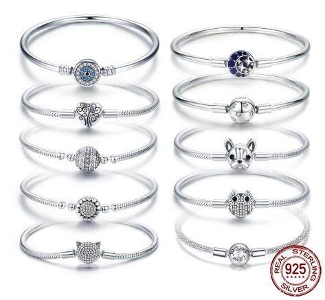 Bisaer رائجة البيع 100% 925 فضة حساسة الحياة الأساسية سلسلة حلية عموم سوار للنساء غرامة صنع المجوهرات هدية HSB062