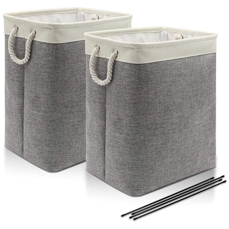 2-Pack 66L سلة الغسيل الكتان كبيرة مع مقبض القطن ، سلة الغسيل قابلة للطي ، منظم الغسيل قابلة للطي