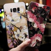 HTMOTXY 3D Fleur En Relief Pour Samsung Galaxy A50 A20 A30 A40 A60 A70 A80 S8 S9 S10 Plus S10E Note 10 Pro A7 A8 A9 2018 Couverture