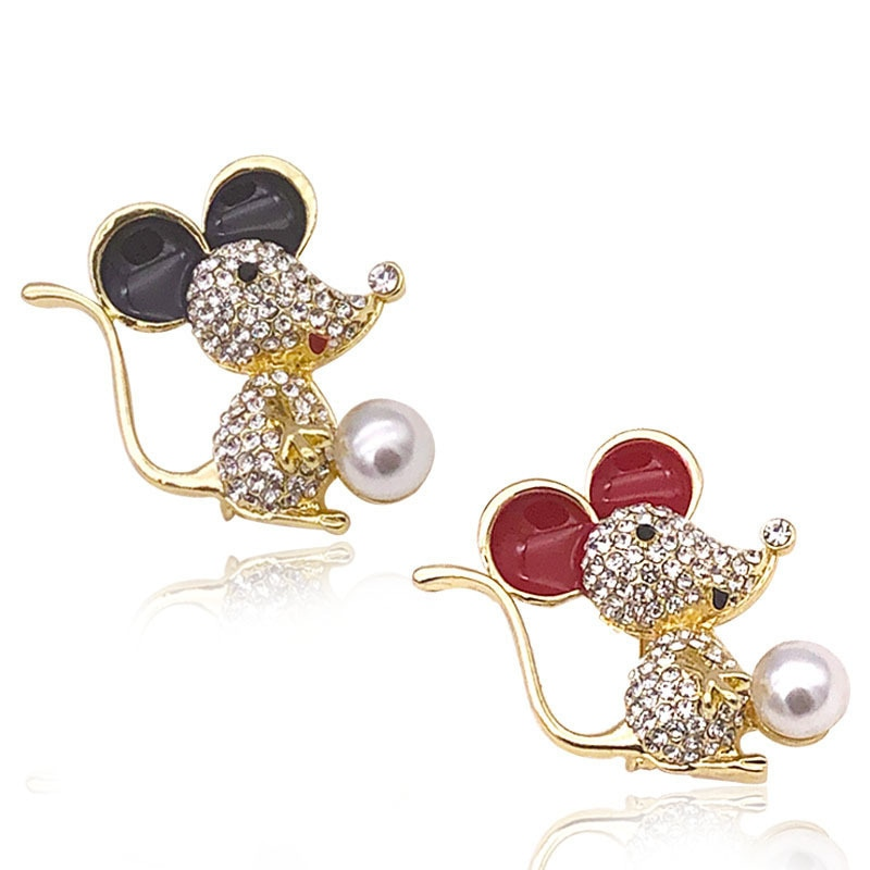 Neue Jahr Der Ratte Perle Maus Broschen Luxus Weibliche Nette Tier Corsage Schwarz Rot Ohren Brosche Zubehör Großhandel Für frauen