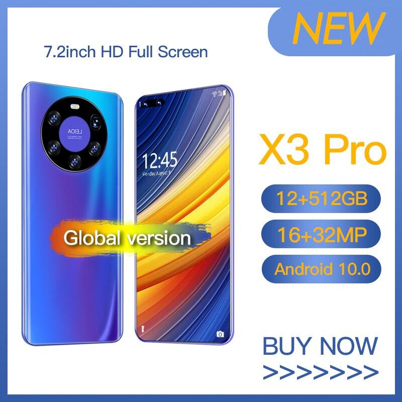 POCQ X3 Pro الهواتف الذكية أندرويد 10.0 الهواتف الذكية مقفلة 5g الهاتف المحمول 8GB 256GB 7.2