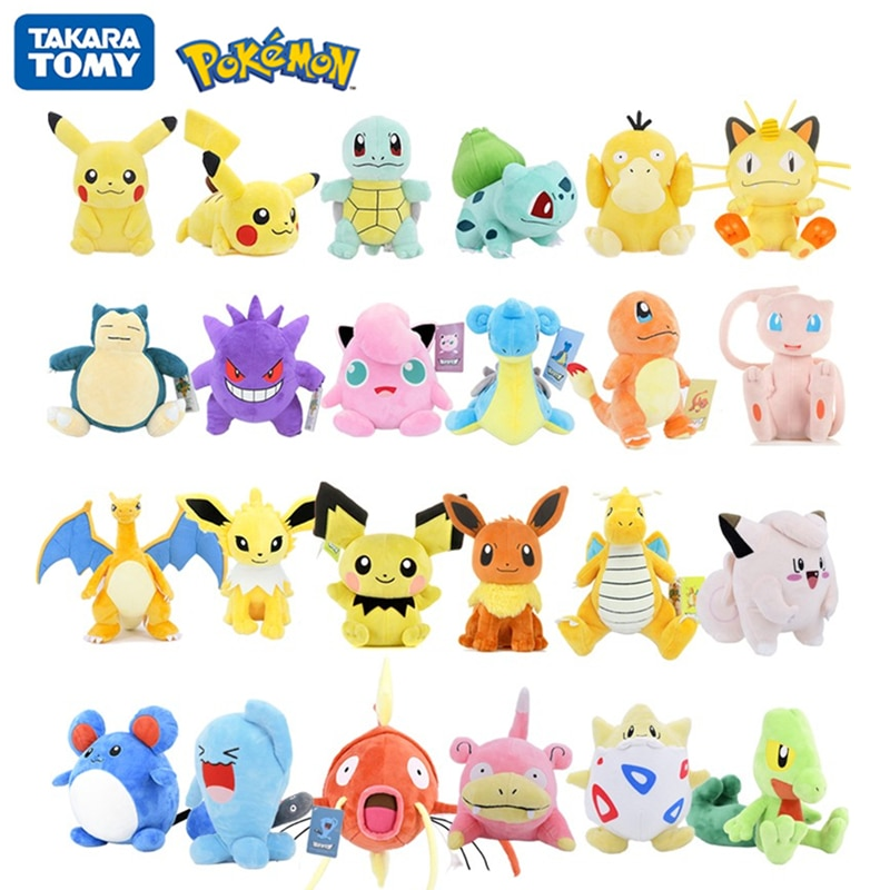 Pokemon Original 20/25CM Kawaii Pikachu Jenny tortuga dibujos animados Animal Anime peluches muñeca niños cumpleaños regalo de Navidad
