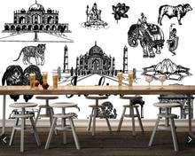 Ręcznie rysowane w stylu szkicu indyjski motyw 3d tapety papel de parede tv do salonu ściana za sofą sypialnia restauracja cafe bar mural