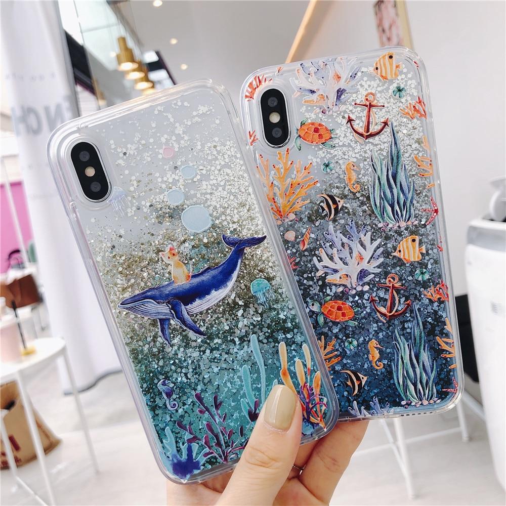 aliexpress.com - Relief Cat Whale Liquid Phone Case For Redmi 10X 4A Note 4 4X 5 5A 6 6A 7 8 Pro 8T 8A 9 Prime 9A 9i 9C Glitter Quicksand Cover