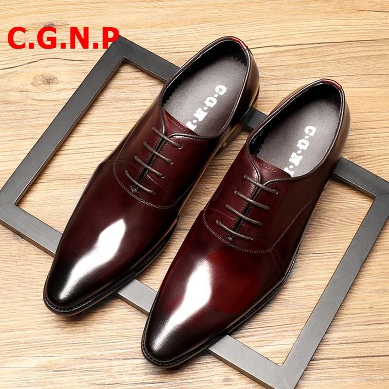 C.G.N.P Zapatos de vestir de cuero Oxfords zapatos italianos de lujo negro rojo vino con cordones para boda Oficina Formal zapatos de hombre