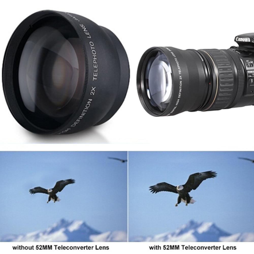 Cewwal Professional 52mm 2*Magnification Telephoto Tele Lens Converter For Nikon D5100 D3200 D70 D40 DSLR Camera Digital Cameras